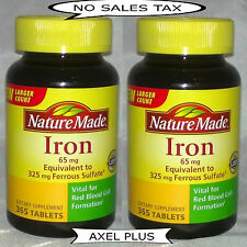 730 Nature Made Iron 65 mg - 2 x 365 Tablets Dietary Supplement 12/2018 NEW !