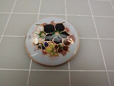 Vintage Hand Painted COPPER Holland ENAMEL Flower Brooch Round Pin