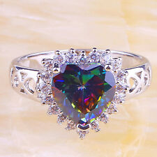 Gift Heart Rainbow & White Topaz Gemstone Women Silver Ring US Size 7 Free Ship
