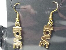 """Valentine's Day Gold Tone """"LOVE"""" Hook Style Fashion Earrings - Jewelry"""