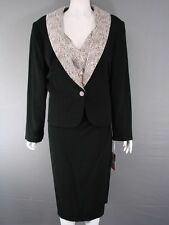 BEAUTIFUL LISA TIBALDI ITALIAN COUTURE BLACK & GREY JACKET & DRESS SUIT SIZE 22