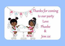 PERSONALISED GLOSS BIRTHDAY TEA PARTY STICKERS, SEALS LABELS, CUTE,GIRLS