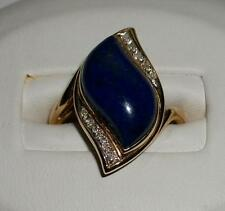Vintage 14K YELLOW GOLD with Large LAPIS LAZULI and 10 DIAMONDS Ring size 7 1/4