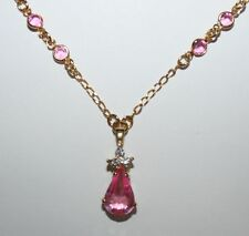 "Signed Avon Pink Teardrop Clear Stone Pendant Gold Tone 18"" Inch Necklace"