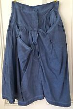 NEW RUNDHOLZ Blueberry Blue Gray Lagenlook Skirt Size S or M ? Cotton Dbl button