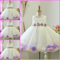 GBP-14 pink Christmas Wedding Party Flower Girls Dresses Sz 1,2,3,4,5,6 Y