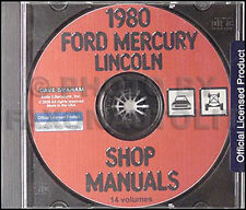 1980 Lincoln Shop Manual on CD Town Car Mark VI Continental Versailles Service