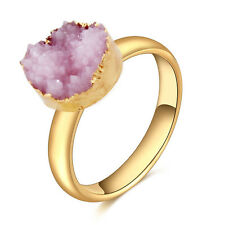Natural Stone Crystal Adjustable Open Statement Gold Plated Ring Women Jewelry