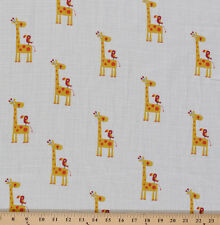 """Two- Layer Softee Double Gauze 58"""" Cotton Baby Yellow Giraffes Bird BTY D161.12"""