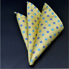 Mens Satin Solid Small Floral Wedding Party Hanky Pocket Square Handkerchief NEW