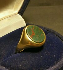 Mens Vintage Art-Deco 9CT Yellow Gold Bloodstone Signet Ring Size O