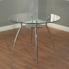 Round Metal Dining Table Glass Top Modern Chrome Dinette Breakfast Dinner Nook