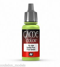 Vallejo Game Color 72.104 Fluo Green, 17ml Acrylic Fantasy / Wargaming Paint