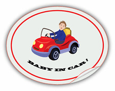 "Baby In Car Warning Label Funny Car Bumper Sticker Decal 5"" x 4"""