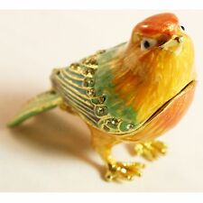 BEJEWELED RHINESTONE CRYSTAL ENAMEL TRINKET/JEWELRY BOX - SPARROW BIRD STATUE
