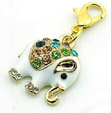 GOLD PLATED CRYSTAL ELEPHANT CLIP ON CHARM FOR CHARM BRACELET OR NECKLACE