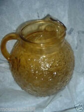 Vintage Anchor Hocking Amber or Gold Ball Pitcher Retro