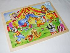 NEW CHILDRENS WOODEN JIGSAW PUZZLE IN FRAME 48 PIECES CIRCUS SCENE CARTOON ND
