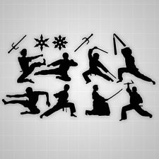 Martial Arts room wall stickers Ninja silhouettes  weapons vinyl room decals