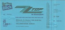 RARE / TICKET DE CONCERT LIVE - ZZ TOP AT ZURICH SUISSE 1986 / COMME NEUF