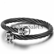 Mens Black Stainless Steel Twisted Cable Wire Adjustable Cuff Bangle Bracelet