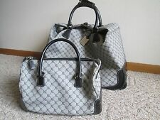 RALPH LAUREN Signature Series Logo Luggage Wheeled Carry on and Purse Lot of 2