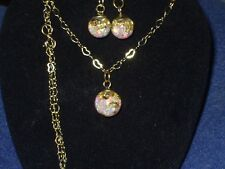 FLOATING FIERY OPALS GOLD FLAKE SNOW GLOBE PENDANT AND EARRINGS HEART CHAIN