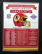 "1988 WASHINGTON REDSKINS SUPER BOWL XXII CHAMPS 14x19"" MAGNETIC PLAQUE DISPLAY"