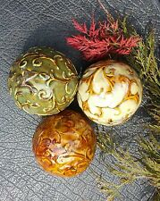 "Set of 3 Decorative Table Balls - 4"" Ceramic Earth Tone/Autumn Colors"