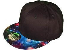 BLACK GALAXY PRINT SNAPBACK HAT CAP ADJUSTABLE OUTER SPACE UNIVERSE FRESH PRINCE