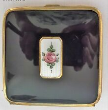 REDUCED LOVELY Antique BLISS Rouge COMPACT Guilloche Enamel 24K Gold plated 1930