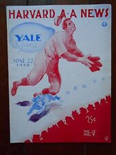1938 HARVARD v YALE college baseball program - great cover illustration art