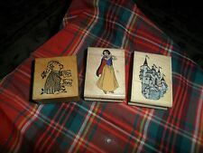 DISNEY Snow White POOH  RUBBER STAMP LOT Of 3 Mixed Ink Scrapbooking Stamps
