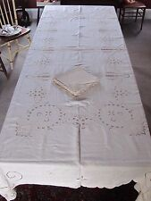 Vintage TABLECLOTH & Napkins Embroidered Drawn Thread Antique Off White 66x112""