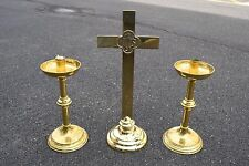 + 3 Piece Set + Pair of Altar Candlesticks & Altar Cross + chalice co. + (CU255)