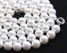 "10mm 24"" White South Sea Shell Pearl Round beads Gemstones Necklace AAA"
