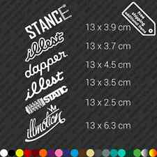 Stance Jdm car sticker set of 6 items - Illest Dapper Static decal vinyl - White