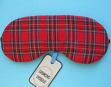 Eye Sleep Mask,Tartan Plaid Cotton, Red Black,Scottish Gift, Blackout, UK Made