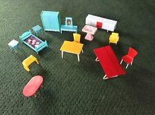 LOT OF 14 MODERN 50'S DOLLHOUSE FURNITURE YELLOW TURQUOISE RED CHAIR TABLE BED