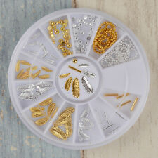 1 Box 3D Nail Art Gold Silver Leaf Stick Bead Chain Pattern Charms Decoration