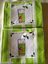 Christmas Holiday TOM COLLINS Set of 2 Cotton TEA TOWELS Gift NEW