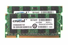 NEW RAM Crucial 4GB 2X 2GB DDR2 2RX8 PC2-6400S 800MHz SODIMM Laptop Memory RAM