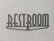 """RESTROOM Door Sign WOOD 9"""" ART DECO STYLE"""
