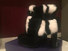 725$ Stuart Weitzman Winter Black & White Fur With Black Suede Boots Sz 6