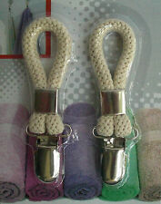 2 Tea Towel Clips - Cloth Hanger Holder Brackets - Braided Cotton Loop