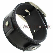 18mm Extra Wide Military Style Cuff Genuine Leather Black Watch Band Strap