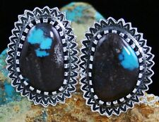 Arland Ben Rare Gem Grade Bisbee Turquoise Sunburst Design Earrings