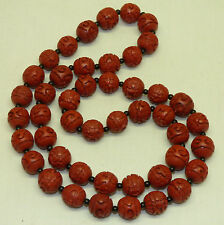 """Old Chinese Carved Flowers Cinnabar 30"""" Necklace w/ 46 Red 15mm Beads"""