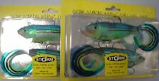 2 packs brand new Storm soft plastic lures, RATTLE Curl Tail shad 15cm,VMC HOOKS