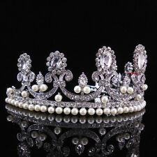 5.5cm High Clear Crystal Pearl Wedding Bridal Party Pageant Prom Tiara Crown